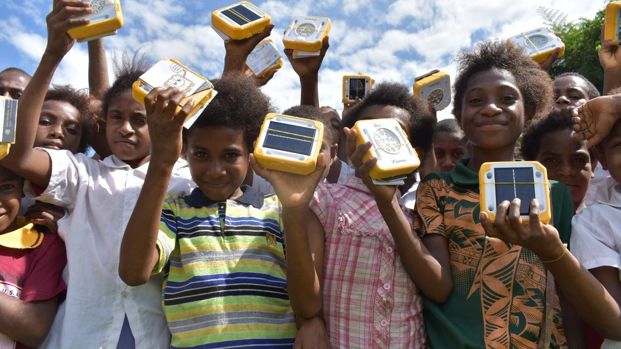 SolarBuddy children with lights